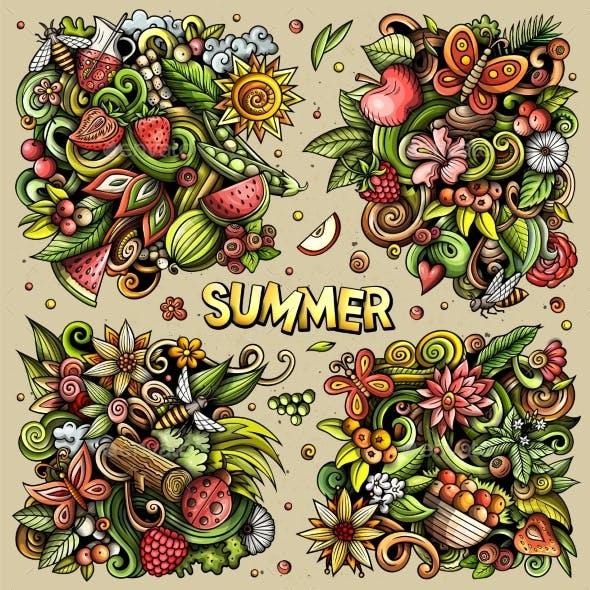 Summer Nature Cartoon Vector Doodle Designs Set