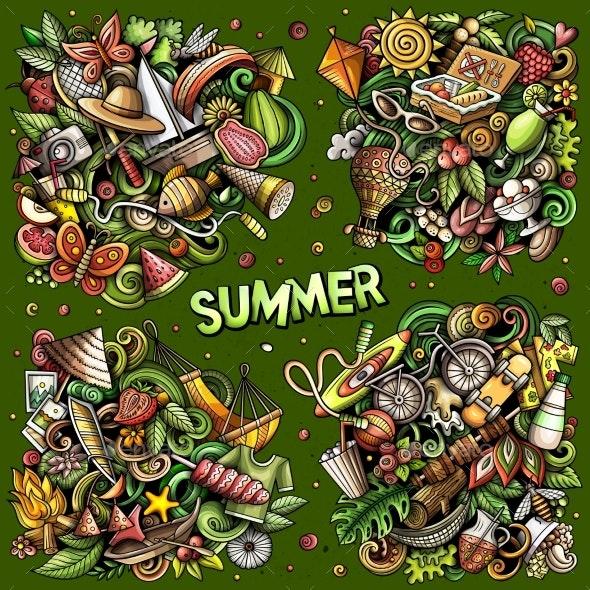 Summer Cartoon Vector Doodle Designs Set - Seasons/Holidays Conceptual
