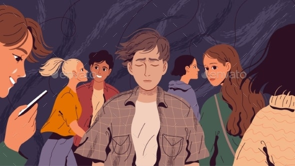 Lonely Suffering Man in a Crowd of People Who Do - People Characters
