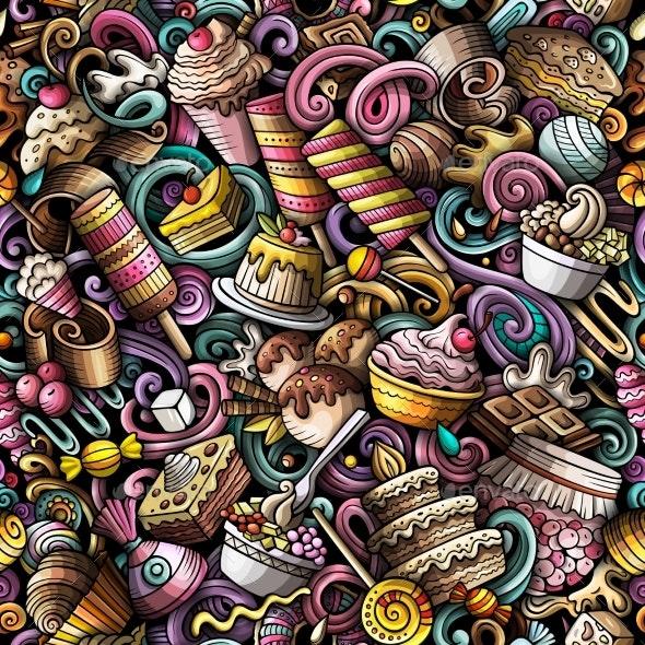 Cartoon Doodles Desserts Seamless Pattern - Food Objects