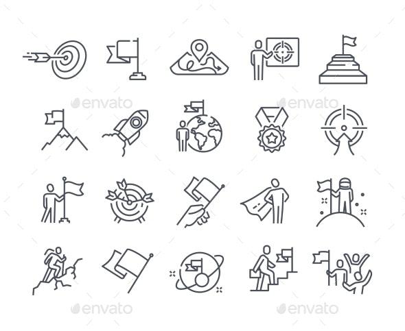 Mission Purpose Objective Aim Outline Icons - Miscellaneous Vectors