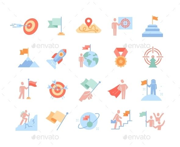 Mission Purpose Objective Aim Colorful Outline - Business Conceptual