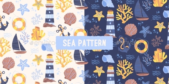 Set of Two Seamless Sea Patterns - Miscellaneous Conceptual