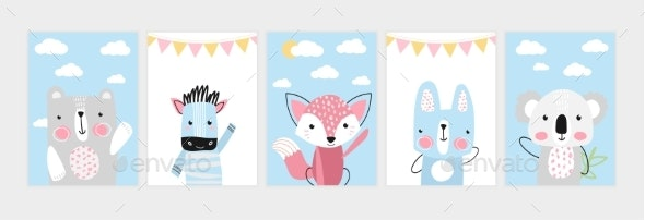 Cute Posters with Little Bear Zebra Fox Hare - Animals Characters