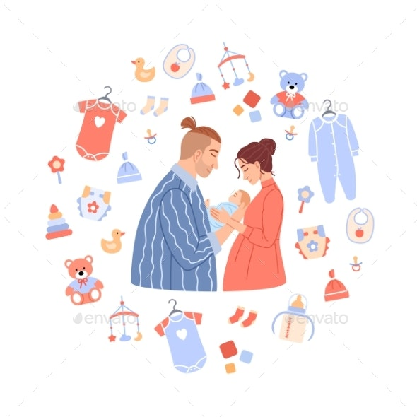 Happy Family Portrait on Baby Background - People Characters