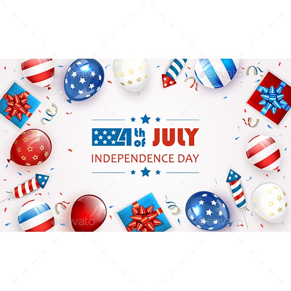 White Background with Balloons and Text Independence Day - Miscellaneous Seasons/Holidays