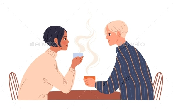 Couple of Young People Sitting in a Cafe with - People Characters