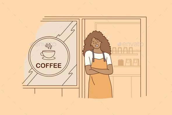 Barista During Work Concept - Food Objects