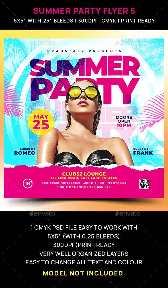 Summer Party Flyer 5 - Flyers Print Templates