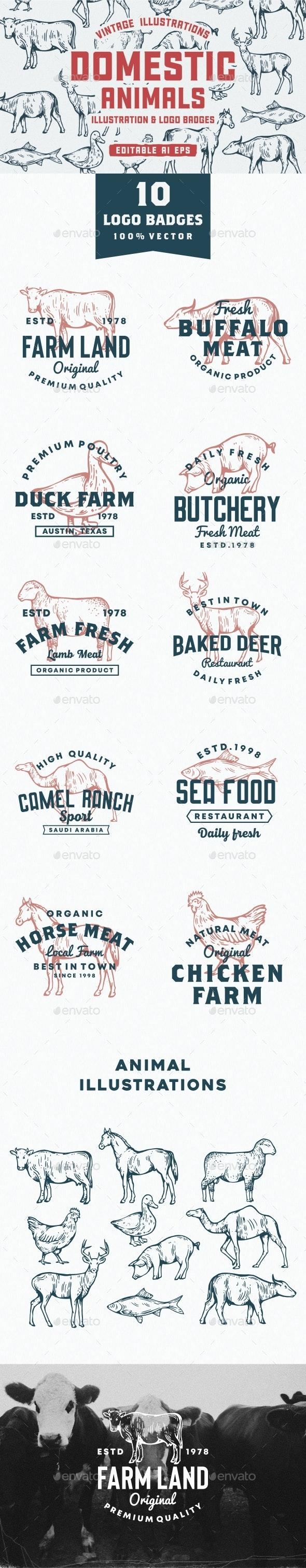 Set Of Animal Domestic Logos And Illustrations - Logo Product Mock-Ups