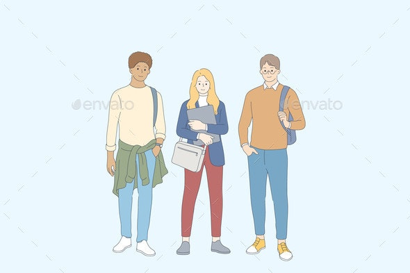 Students and Friendship Concept - People Characters