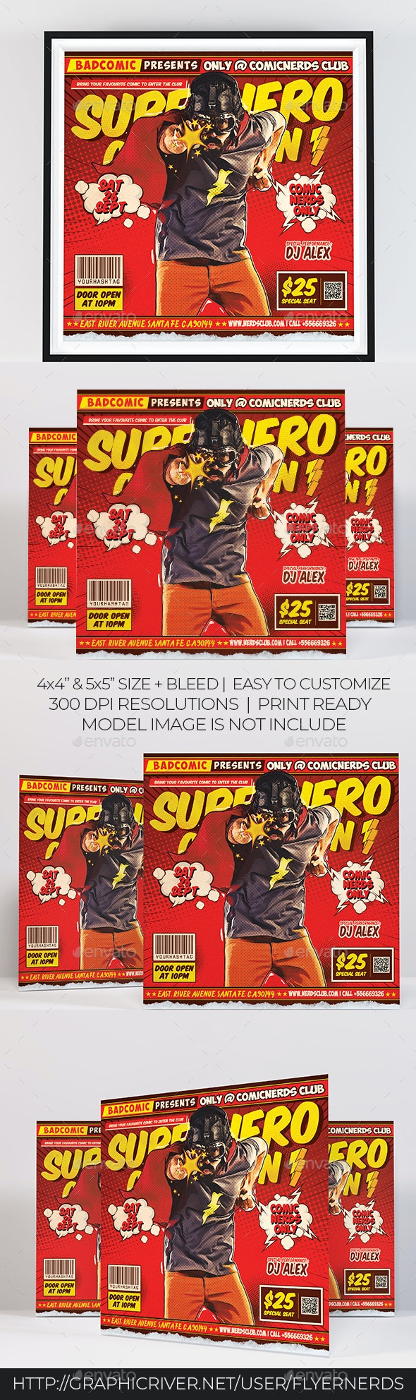 Superhero Party Flyer - Clubs & Parties Events