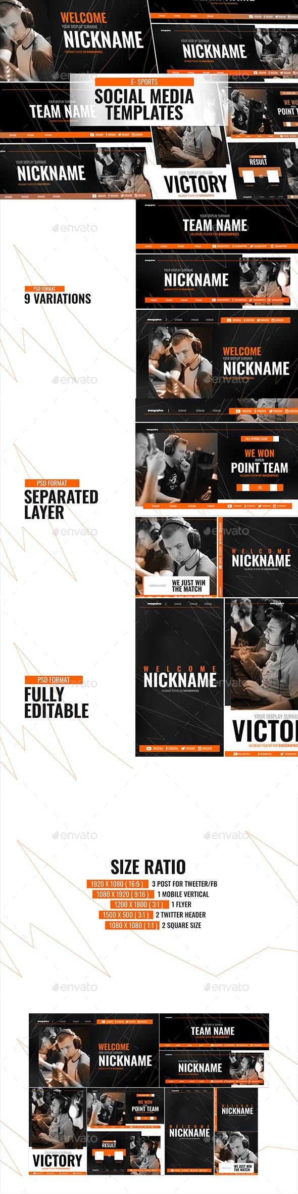 E - Sports Social Media Template - Social Media Web Elements
