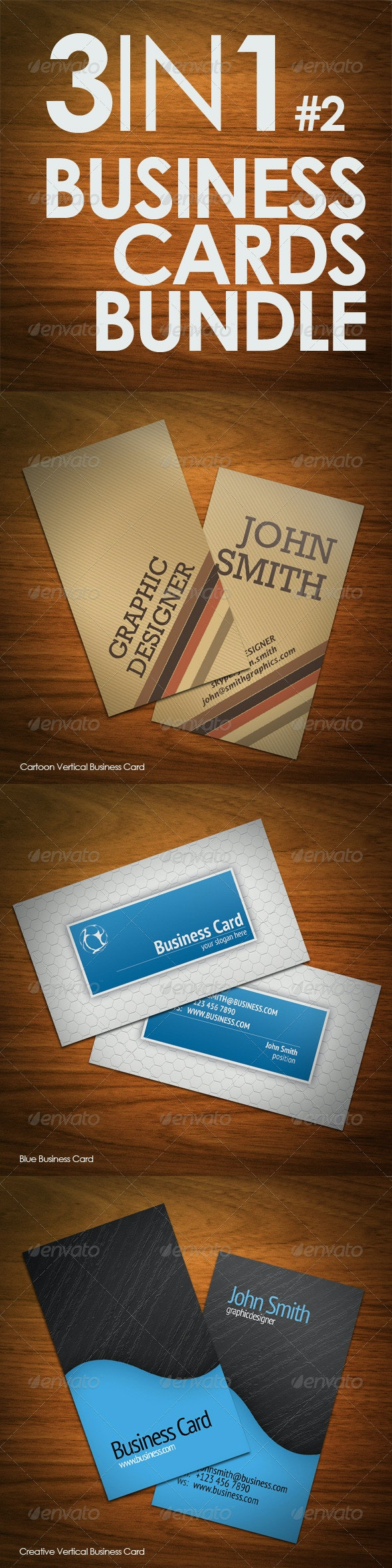 3in1 Business Cards Bundle #2 - Corporate Business Cards