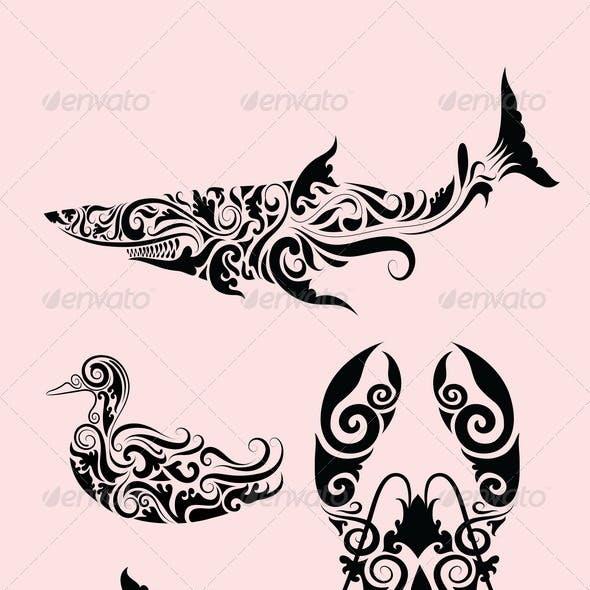 Animal ornaments (duck, shark, lobster, dolphin)