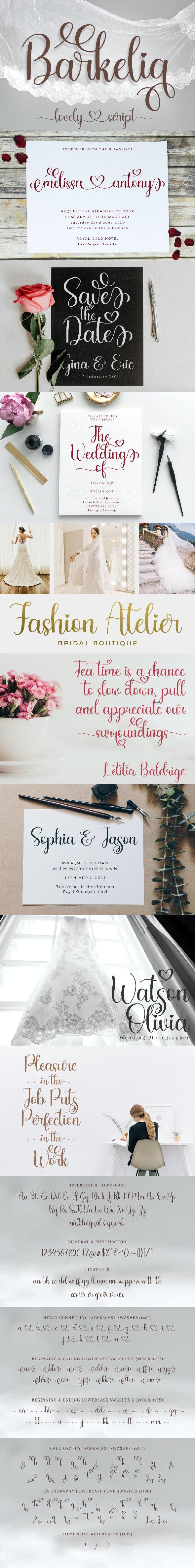 Barkelia Lovely Script - Calligraphy Script