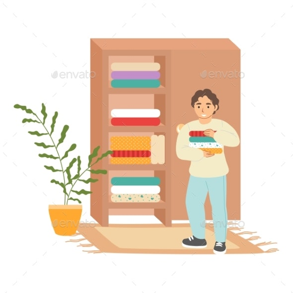 Cute Boy Putting Folded Clothes in Wardrobe - People Characters