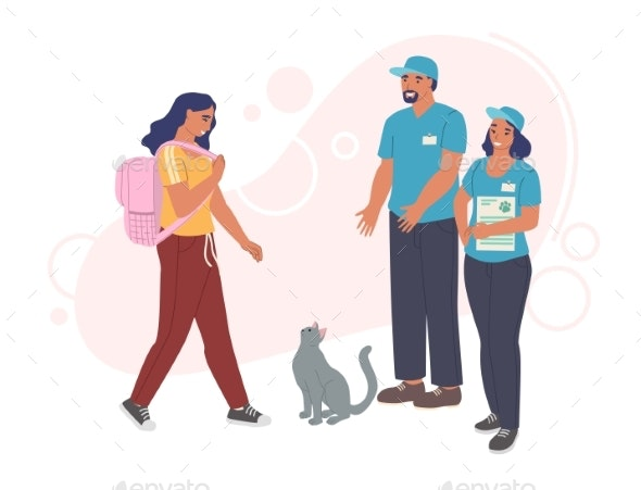 Woman Adopting Cat From Pet Shelter Volunteers - Animals Characters