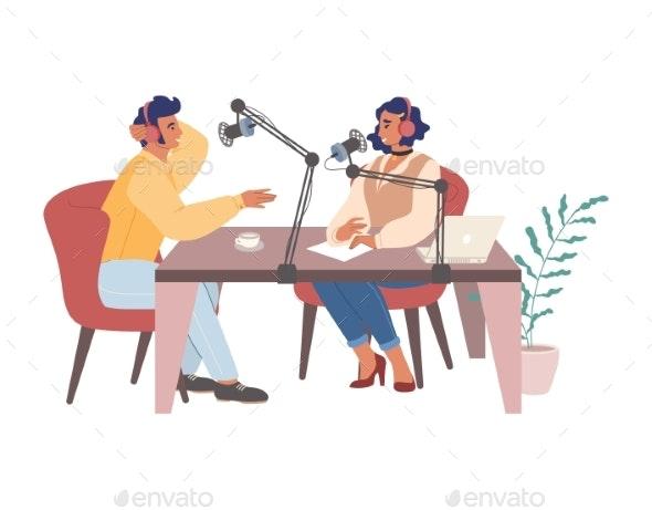 Woman Creating Podcast Hosting Radio Show - Media Technology