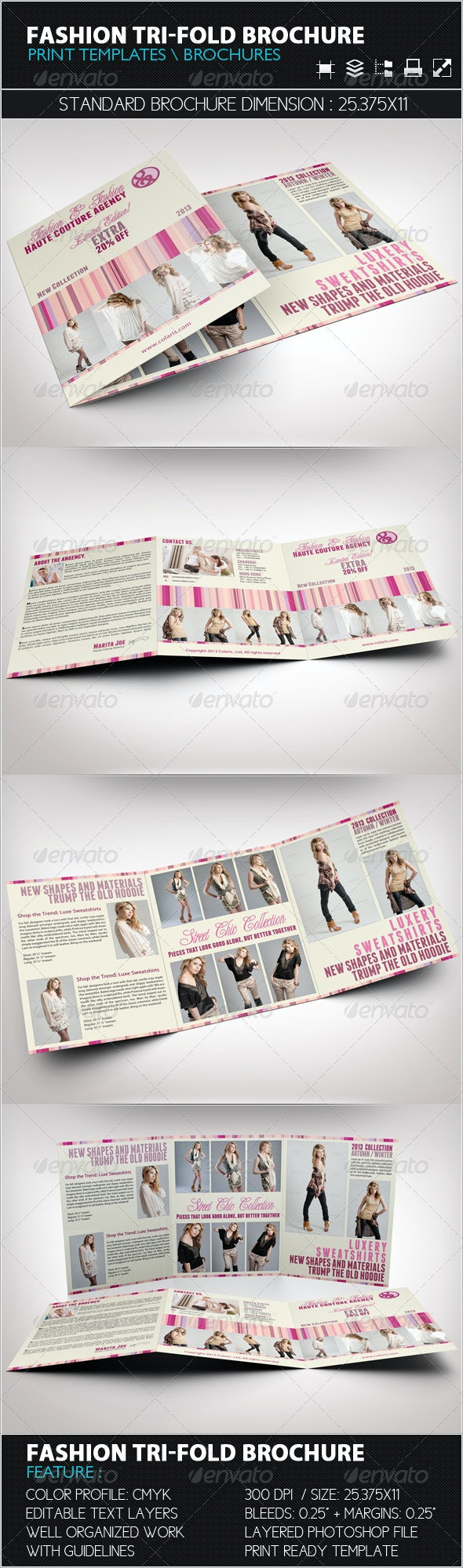 Fashion Tri-Fold Brochure Template - Catalogs Brochures