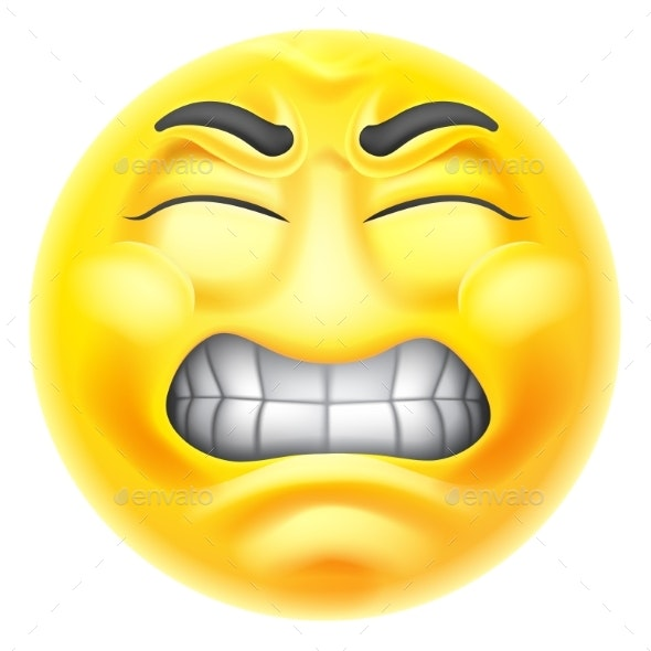 Angry Jealous Mad Hate Emoticon Cartoon Face - Characters Vectors