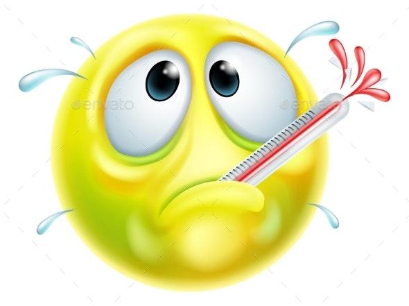 Sick Ill Thermometer Cartoon Emoji Emoticon Face - Miscellaneous Vectors