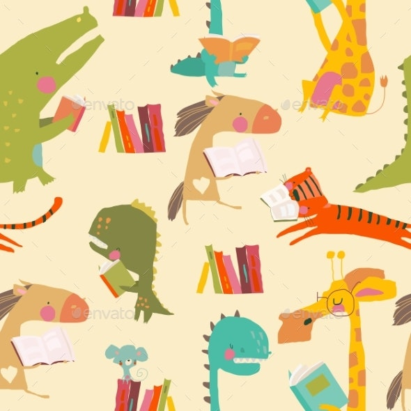 Seamless Pattern of Cute Animals Reading Books - Animals Characters