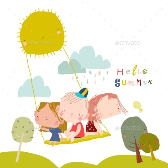 Happy Children Swinging Swing on Rays of Sun - People Characters