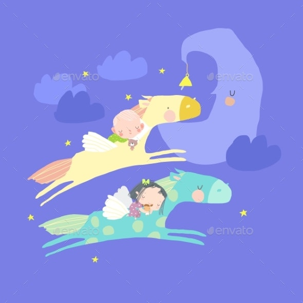 Cute Sleeping Children Flying on Horses in the Sky - People Characters