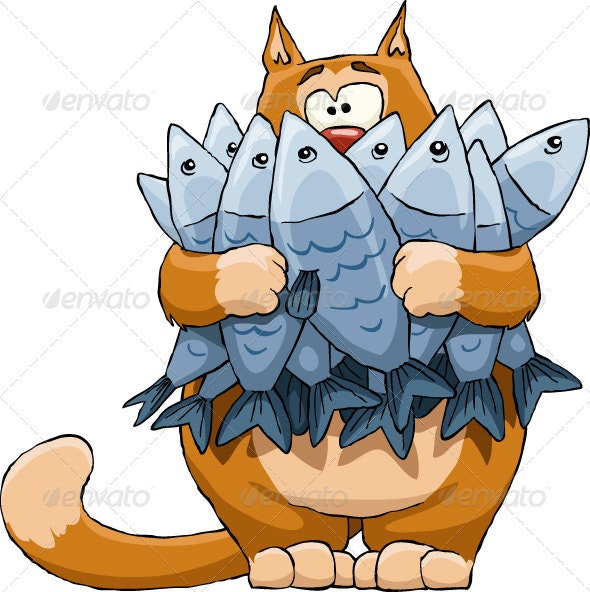 Cat And Fish - Animals Characters