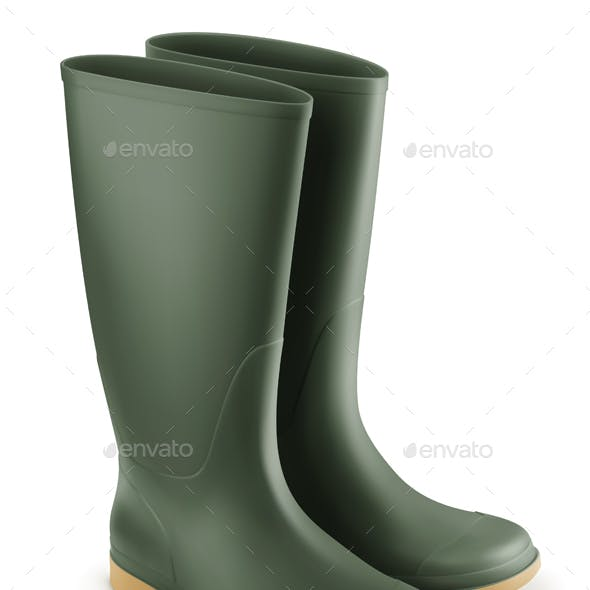 Vector Realistic Rubber Boots