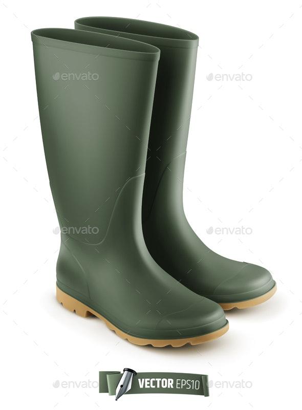 Vector Realistic Rubber Boots - Objects Vectors