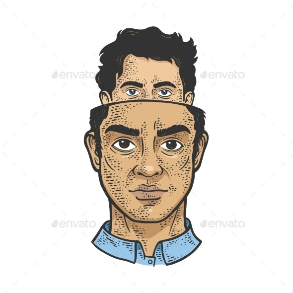 Split Personality Metaphor Sketch Vector - People Characters
