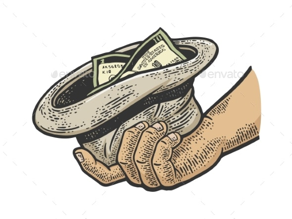 Beggar Hand with Hat and Money Sketch Vector - People Characters