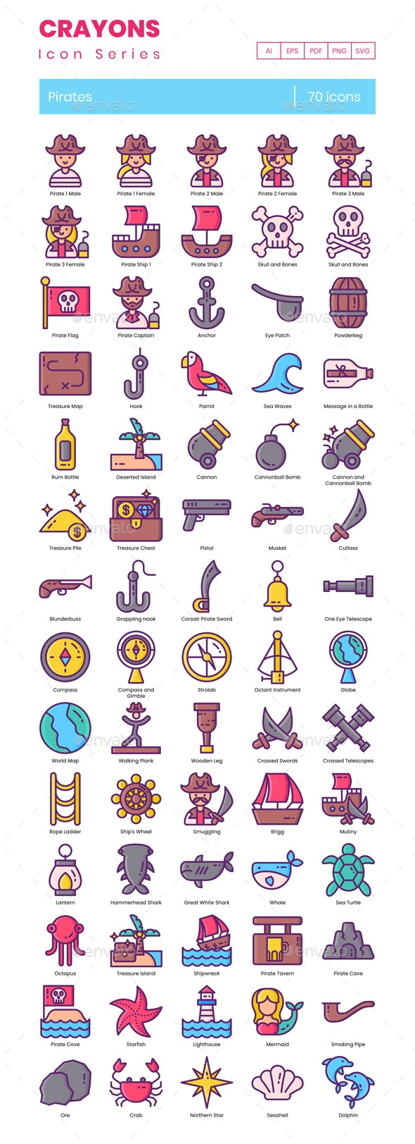 70 Pirates Icons   Crayons Series - Icons