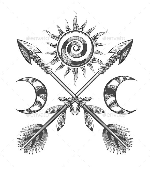 Sun Moon and Arrows Esoteric Illustration - Tattoos Vectors