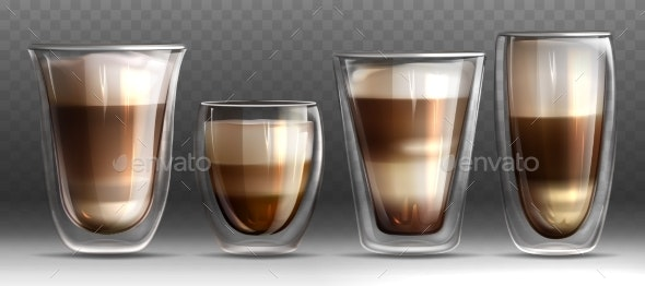Realistic Different Shapes Glass Cups with Hot - Food Objects
