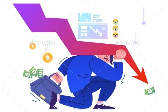 Flat Businessman Under Arrow Resist Financial - Business Conceptual
