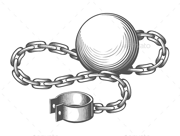 Ball and Chain Engraving Illustration - Tattoos Vectors