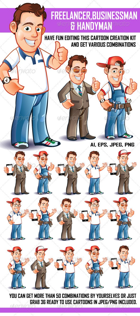 Freelancer Businessman and Handyman - People Characters