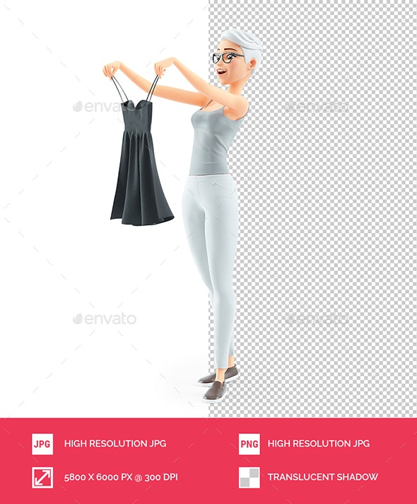 3D Senior Woman Looking for a Dress - Characters 3D Renders