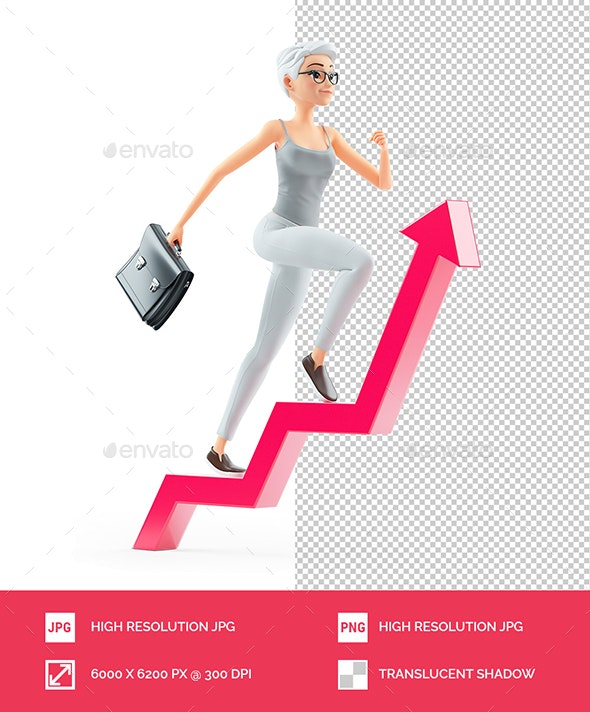 3D Senior Woman with Briefcase Running on Growing Arrow - Characters 3D Renders
