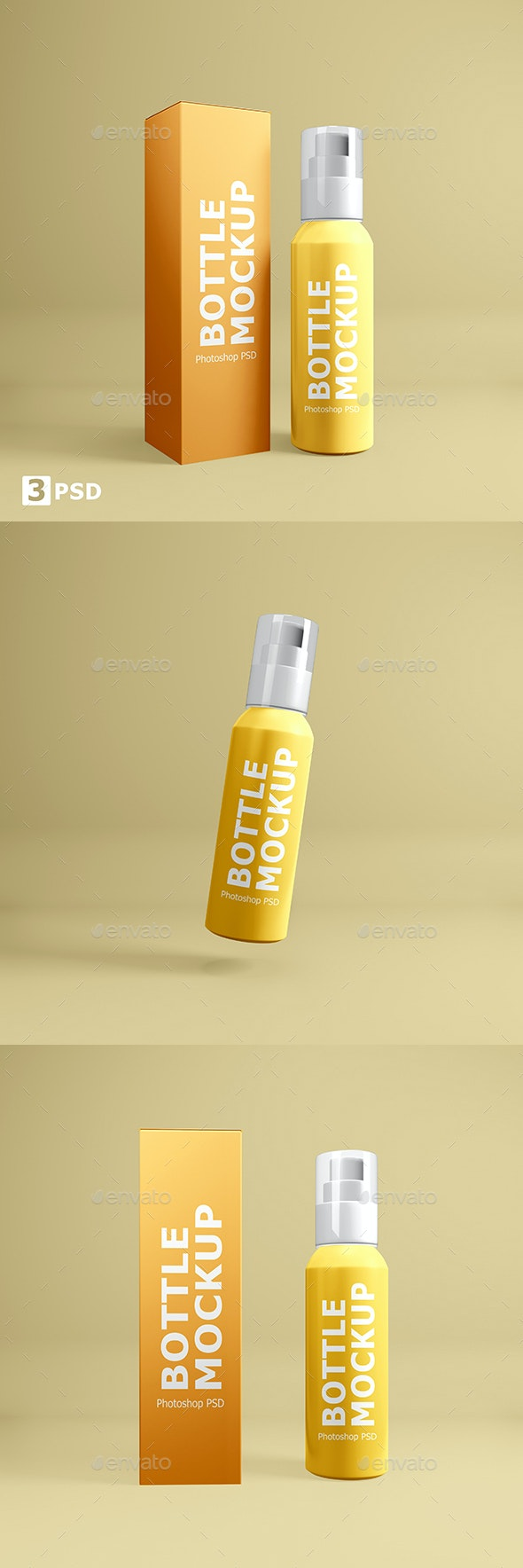Cosmetic Bottle With Box Mockup - Beauty Packaging