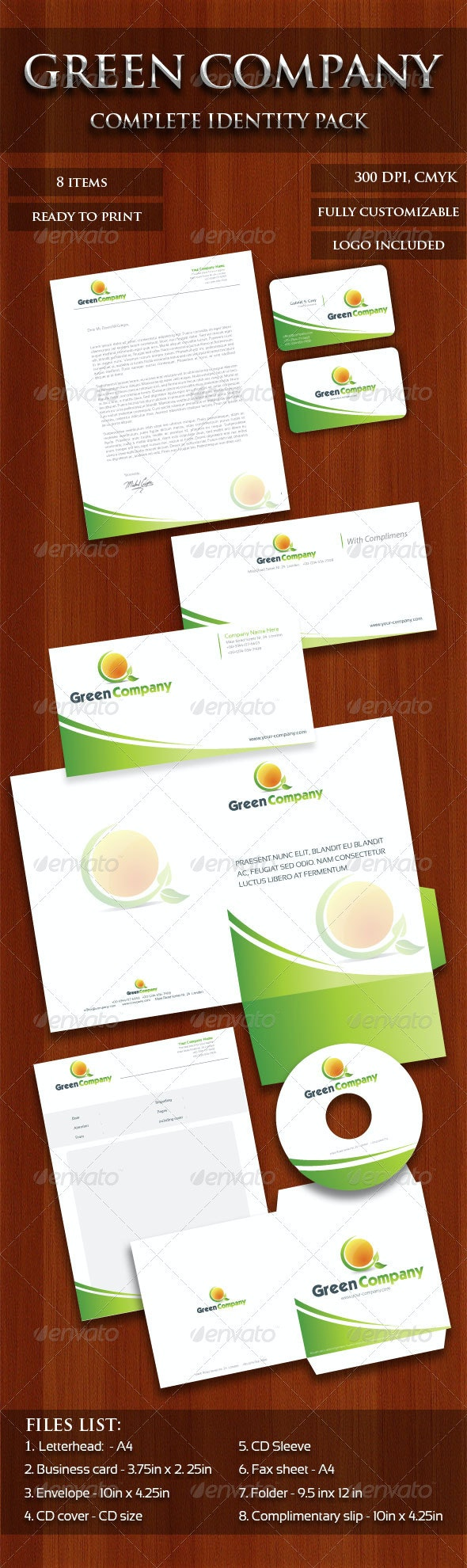 Green Company identity Pack  - Stationery Print Templates