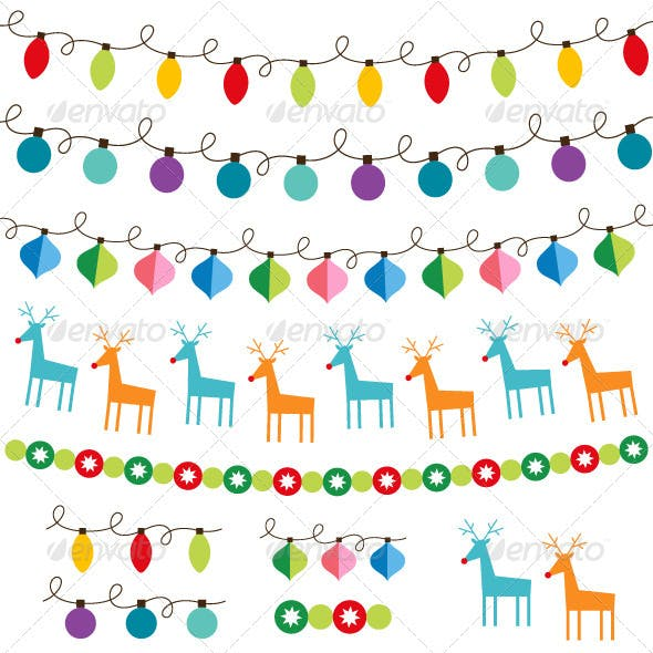 Christmas decoration vector set.