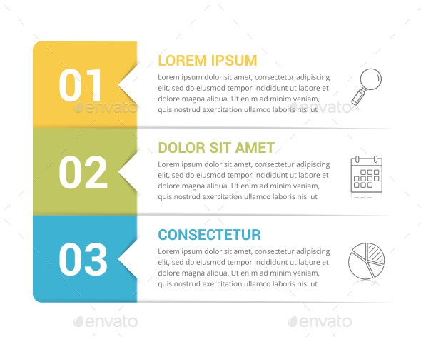 Infographic Template with 3 Steps - Infographics