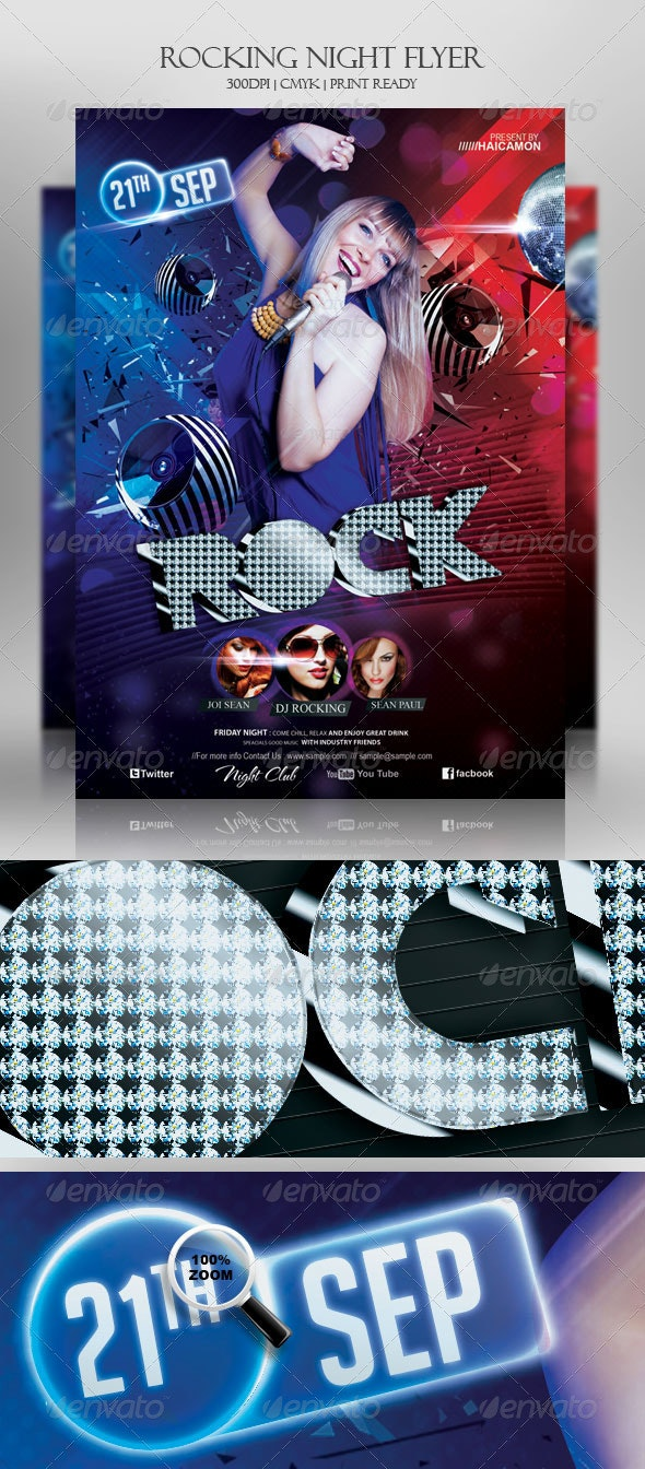 Rocking Night Party Flyer - Clubs & Parties Events