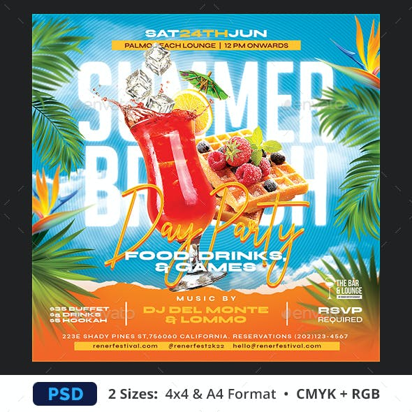 Summer Brunch Party Flyer