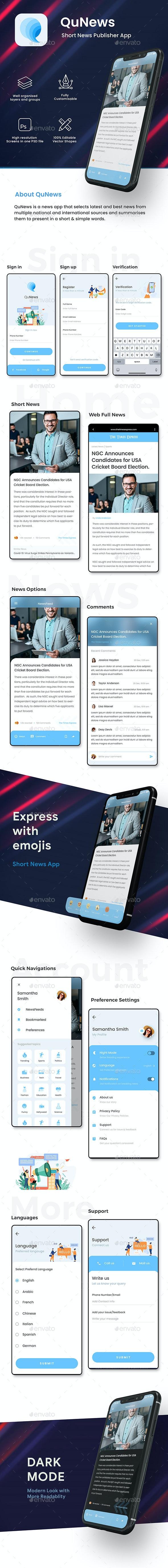 Short News Publish App UI | QuNews - User Interfaces Web Elements