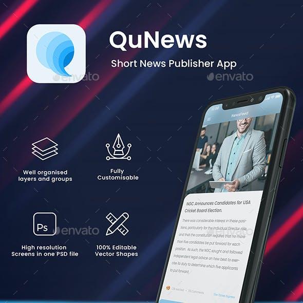 Short News Publish App UI | QuNews